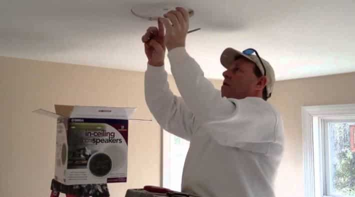removing a ceiling speaker technician