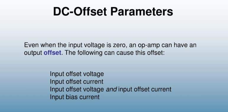 DC Offset Voltage Out Of Parameter
