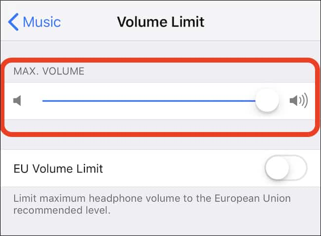 iphone volume limit