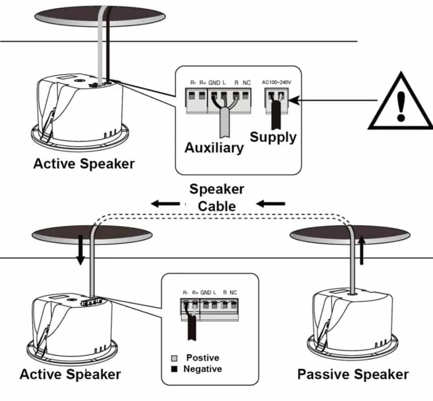 how to power in ceiling speakers