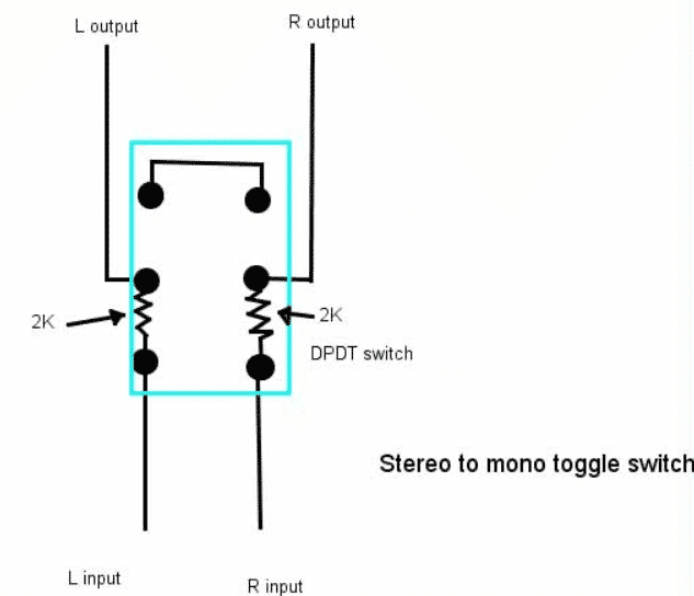 adding a mono swicth to amplifier to connect a single speaker to 2 channels