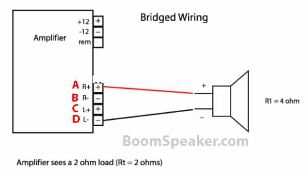 bridge amplifier to connect two channels to one speaker