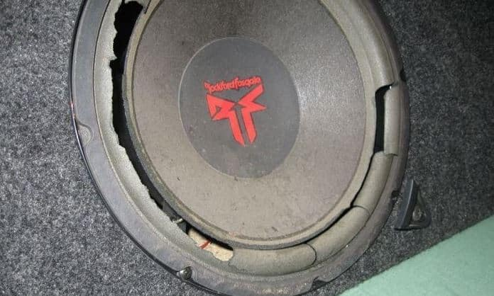 blown subwoofer cone