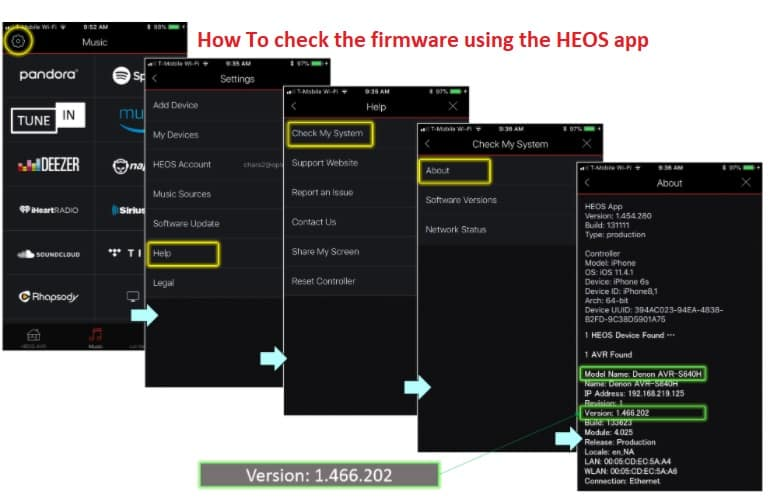 How To check the firmware using the HEOS app
