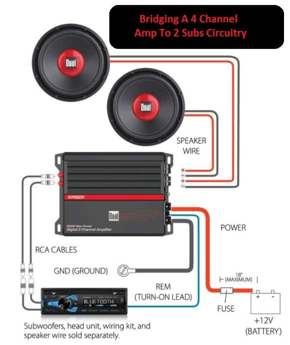 Bridging A 4 Channel Amp To 2 Subs Circuitry