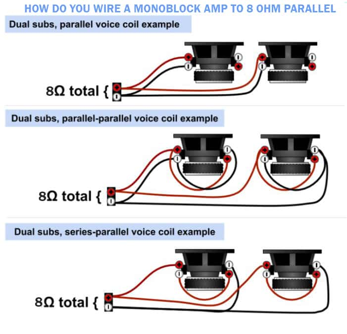 How Do You Wire A Monoblock Amp To 8 Ohm Parallel