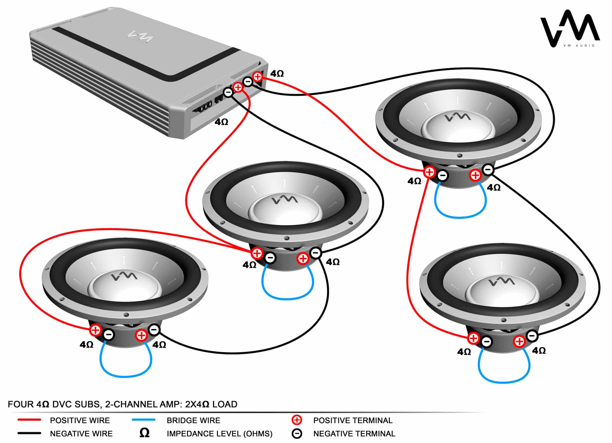 How to Connect Four Speakers To A 2-Channel Amp -  Channel Amp To Car Stereo Wiring Diagram on car subwoofer wiring kit, wiring 6 speakers to 4 channel amp, car subwoofer amp wiring diagram,